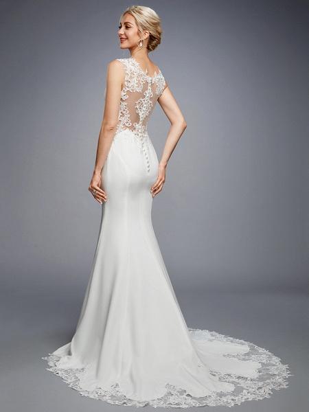 Mermaid \ Trumpet Wedding Dresses Bateau Neck Court Train Chiffon Lace Regular Straps Sexy Illusion Detail Backless_5