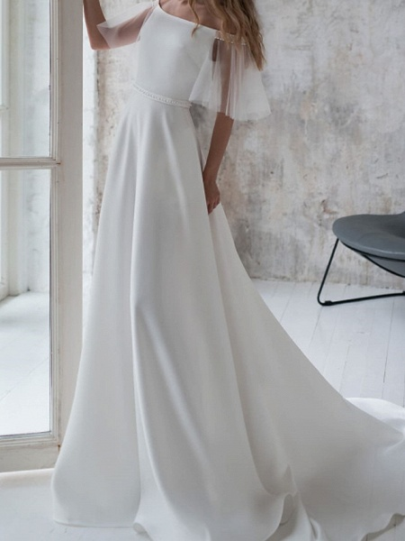 A-Line Wedding Dresses Off Shoulder Sweep \ Brush Train Stretch Satin Short Sleeve Country Illusion Sleeve_3