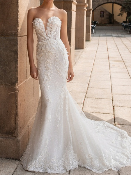 Mermaid \ Trumpet Wedding Dresses Sweetheart Neckline Court Train Lace Strapless Mordern Sparkle & Shine_1