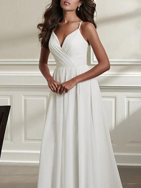 A-Line Wedding Dresses Spaghetti Strap Sweep \ Brush Train Chiffon Over Satin Sleeveless Simple Beach Sexy Backless_2