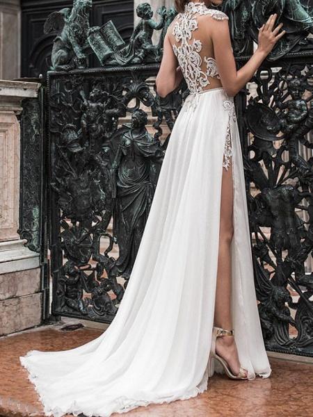 Two Piece A-Line Wedding Dresses Halter Neck Sweep \ Brush Train Detachable Lace Chiffon Over Satin Sleeveless Beach Boho Sexy See-Through_2