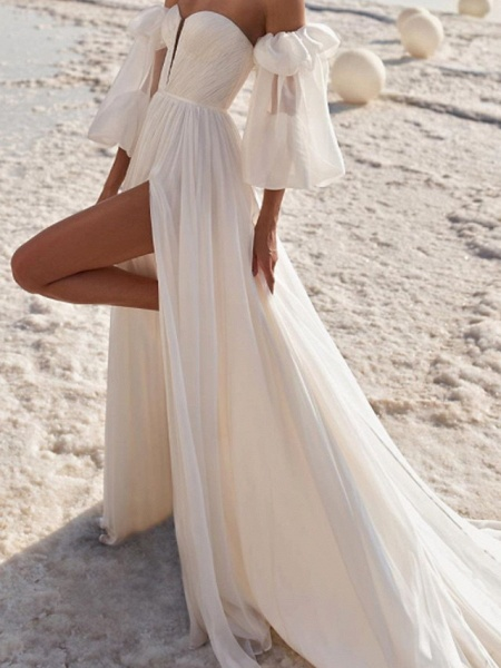 A-Line Wedding Dresses Off Shoulder Strapless Court Train Chiffon Over Satin 3\4 Length Sleeve Sexy_2