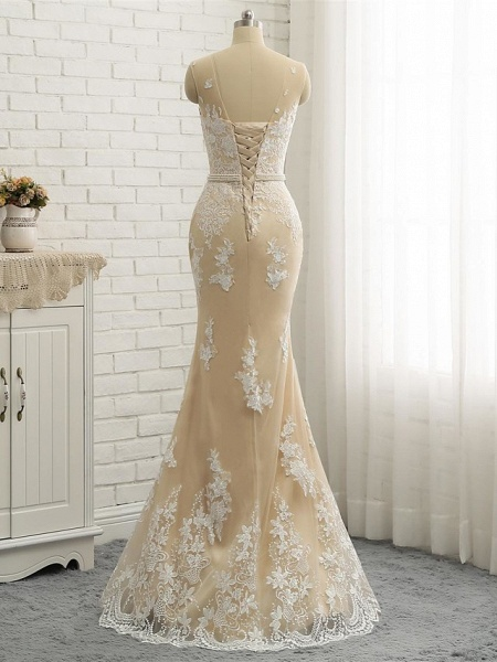 Mermaid \ Trumpet Jewel Neck Chapel Train Lace Tulle Lace Over Satin Regular Straps Formal See-Through Wedding Dresses_7