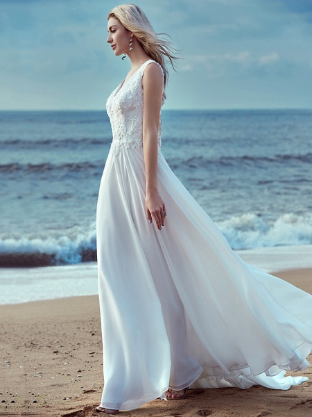 A-Line Wedding Dresses V Neck Sweep \ Brush Train Chiffon Lace Regular Straps Cutouts_6