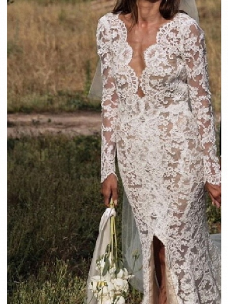 A-Line V Neck Sweep \ Brush Train Lace Long Sleeve Sexy Plus Size Wedding Dresses_2