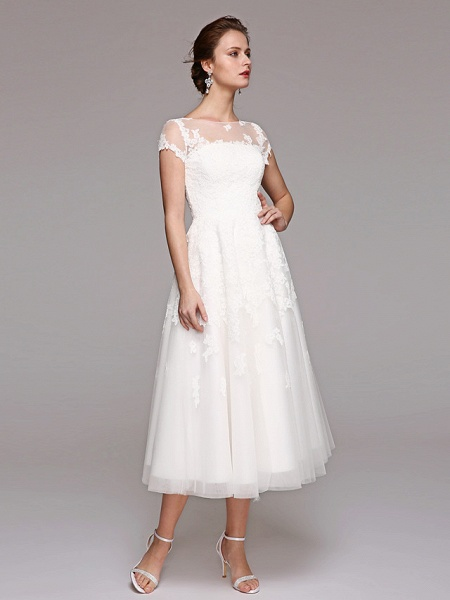 Ball Gown Wedding Dresses Bateau Neck Tea Length Lace Over Tulle Short Sleeve Formal Casual Illusion Detail Cute_8