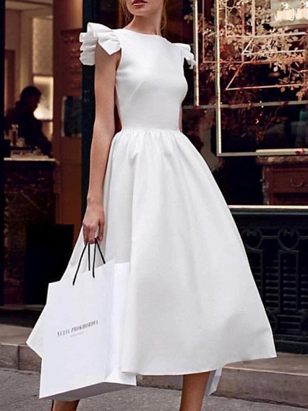 Ball Gown Wedding Dresses V Neck Ankle Length Satin Regular Straps Formal Vintage Plus Size 1950s Cute_1