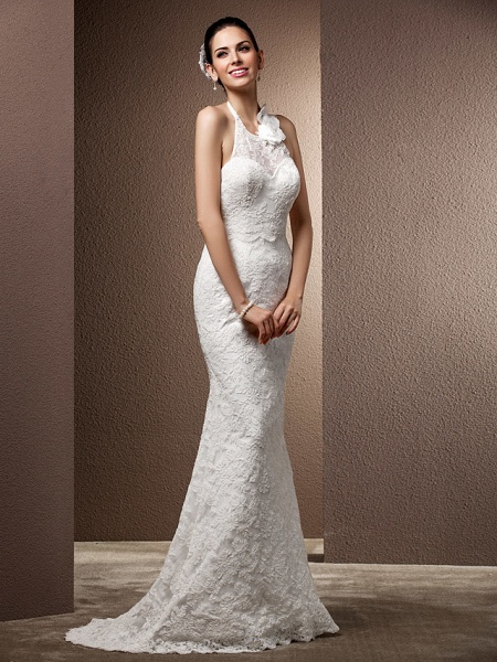 Mermaid \ Trumpet Wedding Dresses Halter Neck Sweep \ Brush Train Lace Regular Straps Open Back_3