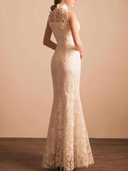 Mermaid \ Trumpet Wedding Dresses High Neck Ankle Length Lace Sleeveless Beach_4