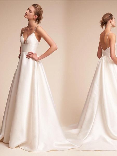 A-Line Wedding Dresses V Neck Court Train Satin Spaghetti Strap Little White Dress Open Back Sexy_4