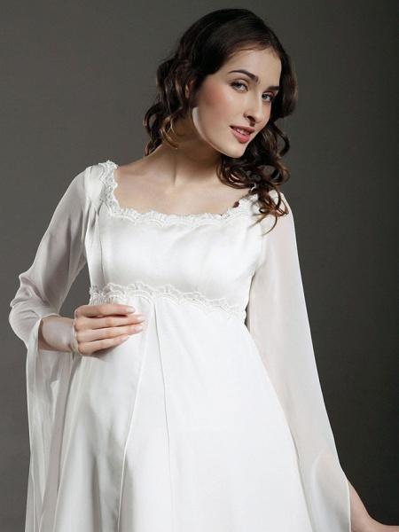 Sheath \ Column Wedding Dresses Square Neck Floor Length Chiffon Satin Long Sleeve See-Through_4