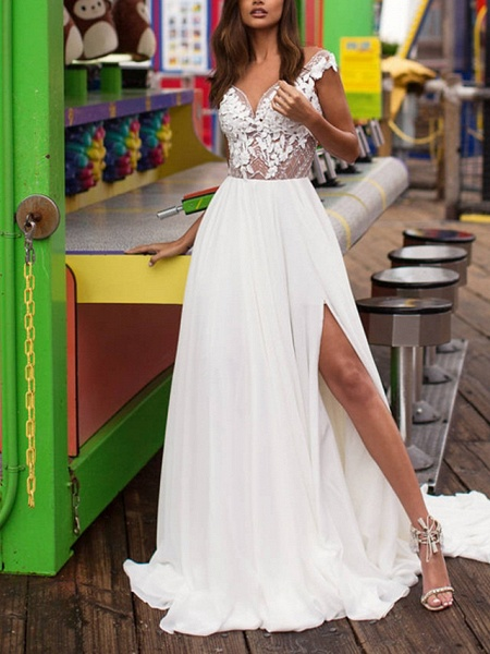 A-Line Wedding Dresses V Neck Sweep \ Brush Train Lace Satin Cap Sleeve Boho Plus Size_1
