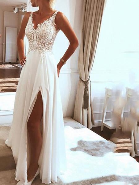 A-Line Wedding Dresses V Neck Spaghetti Strap Sweep \ Brush Train Lace Chiffon Over Satin Sleeveless Beach Boho Sexy_1