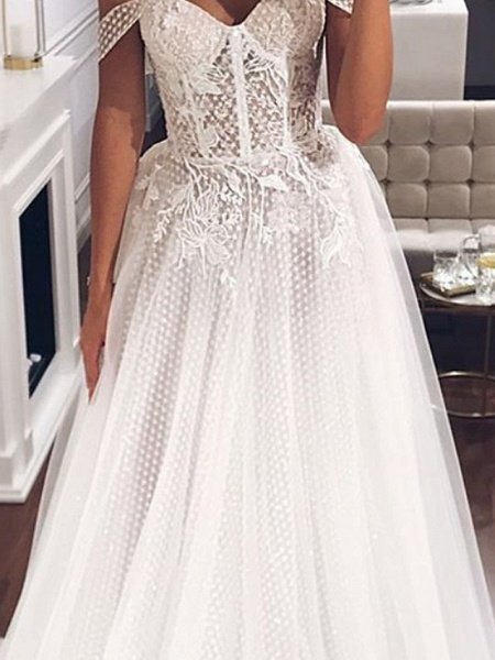 A-Line Off Shoulder Sweep \ Brush Train Tulle Short Sleeve Country Plus Size Wedding Dresses_3