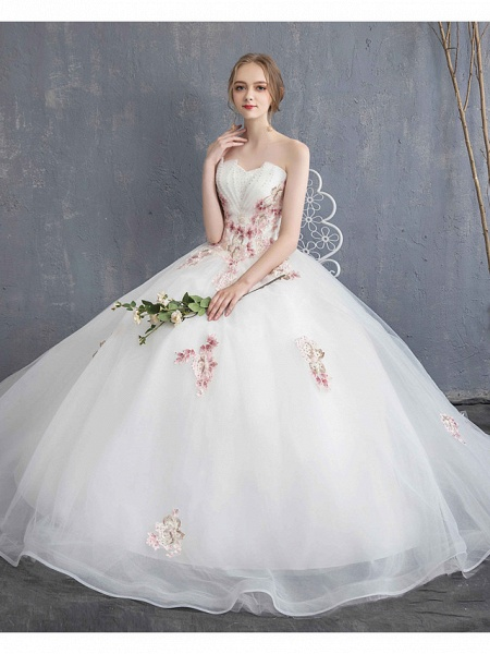A-Line Wedding Dresses Strapless Maxi Lace Organza Tulle Strapless Country Romantic Sparkle & Shine_9