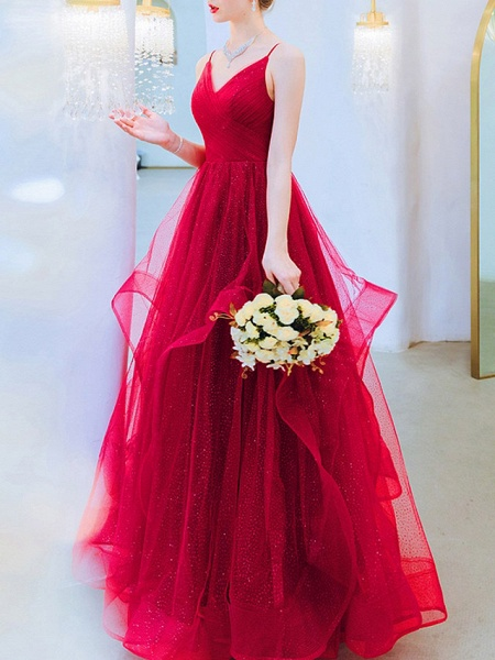 A-Line Wedding Dresses V Neck Floor Length Organza Sleeveless Romantic Plus Size Red_2