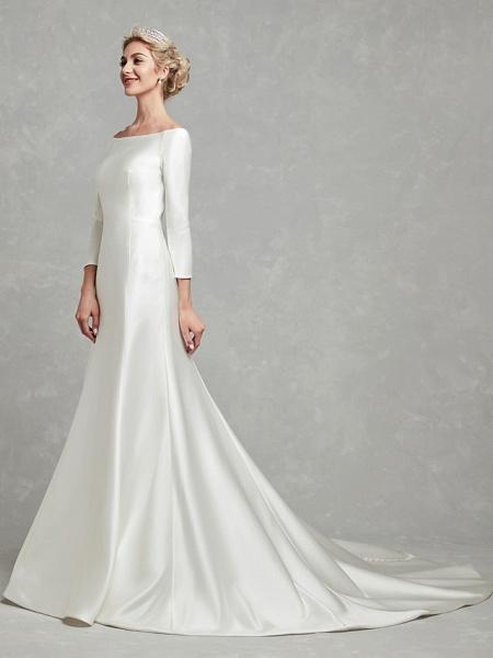 Mermaid \ Trumpet Wedding Dresses Bateau Neck Chapel Train Satin Long Sleeve Formal Little White Dress_4