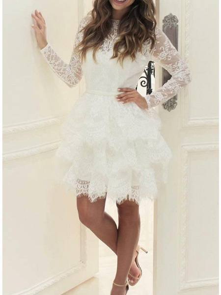 Ball Gown Wedding Dresses Jewel Neck Short \ Mini Lace Tulle Long Sleeve Casual Little White Dress See-Through_1