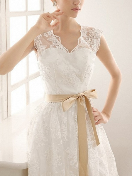 A-Line Wedding Dresses V Neck Knee Length Lace Sleeveless Vintage Little White Dress 1950s_4