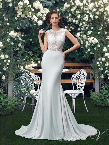 Mermaid \ Trumpet Wedding Dresses Jewel Neck Court Train Polyester Regular Straps Sexy_1
