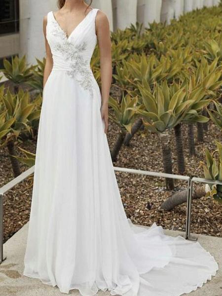 A-Line Wedding Dresses V Neck Sweep \ Brush Train Chiffon Sleeveless Romantic_1