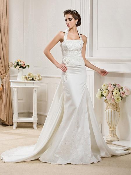 Mermaid \ Trumpet Halter Neck Court Train Satin Sleeveless Wedding Dresses_1