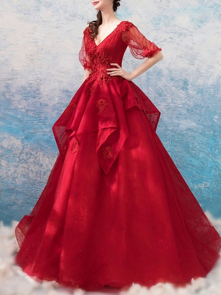 Ball Gown Wedding Dresses V Neck Floor Length Polyester Half Sleeve Romantic Plus Size Red_3