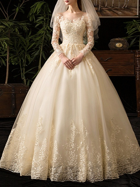 A-Line Wedding Dresses Scoop Neck Floor Length Lace Long Sleeve Glamorous See-Through Illusion Sleeve_1