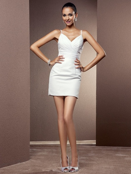 Sheath \ Column Wedding Dresses V Neck Asymmetrical Chiffon Sleeveless_9