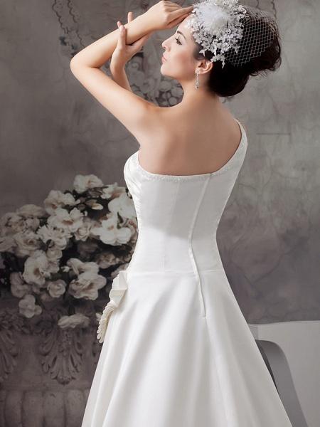 A-Line Wedding Dresses One Shoulder Sweep \ Brush Train Satin Spaghetti Strap_5
