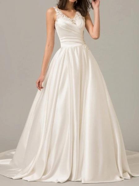 A-Line Wedding Dresses V Neck Sweep \ Brush Train Polyester Sleeveless Formal Plus Size_1