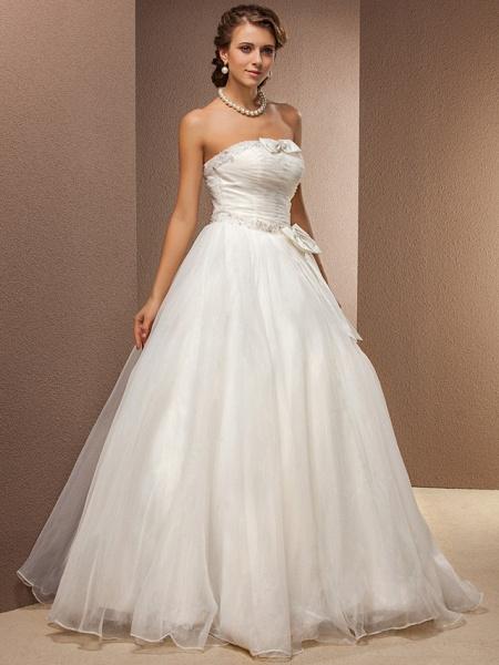 Ball Gown Wedding Dresses Strapless Floor Length Tulle Sleeveless_2