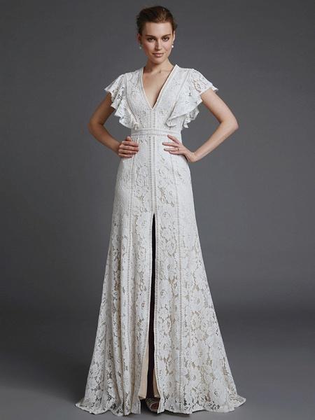 A-Line V Neck Sweep \ Brush Train Lace Sleeveless Boho Wedding Dresses_3