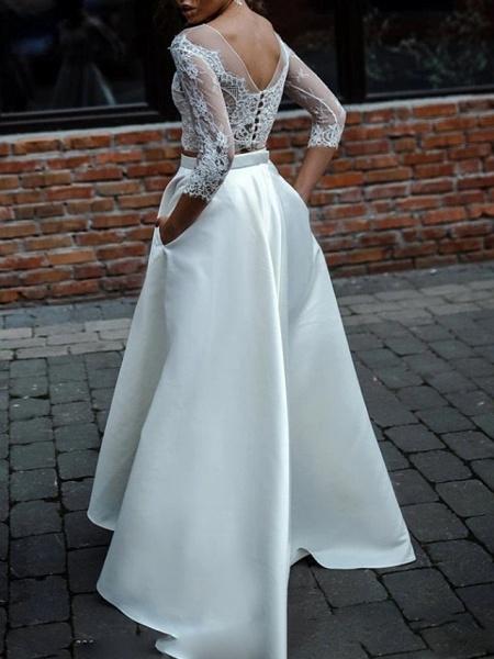 Two Piece A-Line Wedding Dresses Jewel Neck Asymmetrical Lace Satin 3\4 Length Sleeve Beach Boho Sexy See-Through_2