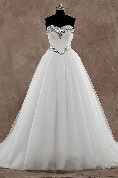 A-Line Strapless Crystal Sweep-Brush Train Tulle Wedding Dress