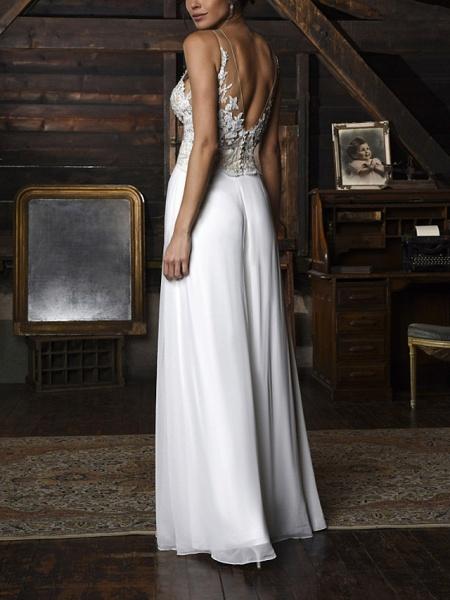 Jumpsuits Wedding Dresses V Neck Floor Length Chiffon Sleeveless Vintage Sexy_2