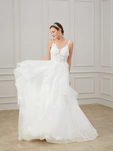 A-Line Wedding Dresses V Neck Sweep \ Brush Train Chiffon Lace Tulle Sleeveless Formal Plus Size_3