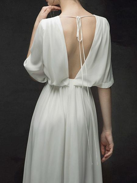 A-Line Wedding Dresses Jewel Neck Sweep \ Brush Train Chiffon Satin Half Sleeve Simple Elegant_9