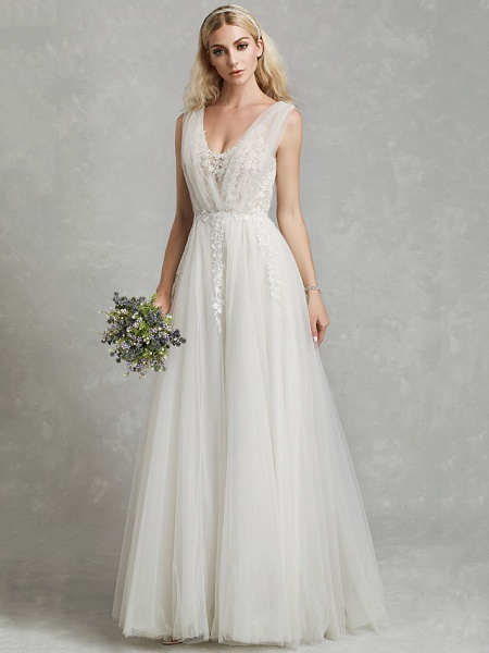 A-Line Wedding Dresses V Neck Floor Length Lace Tulle Regular Straps Romantic Plus Size Illusion Sleeve_5