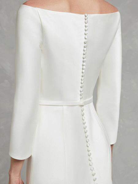 Mermaid \ Trumpet Wedding Dresses Bateau Neck Chapel Train Satin Long Sleeve Formal Little White Dress_10