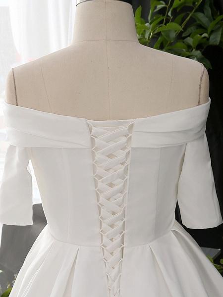A-Line Wedding Dresses Off Shoulder Court Train Satin Half Sleeve Simple Elegant_6