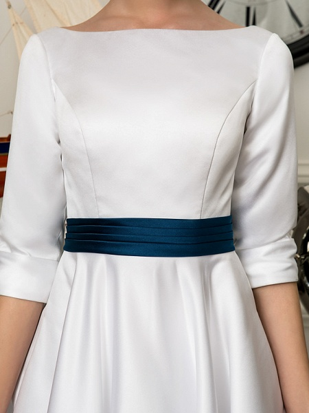 A-Line Wedding Dresses Bateau Neck Knee Length Satin 3\4 Length Sleeve Simple Casual Vintage Plus Size Cute_7