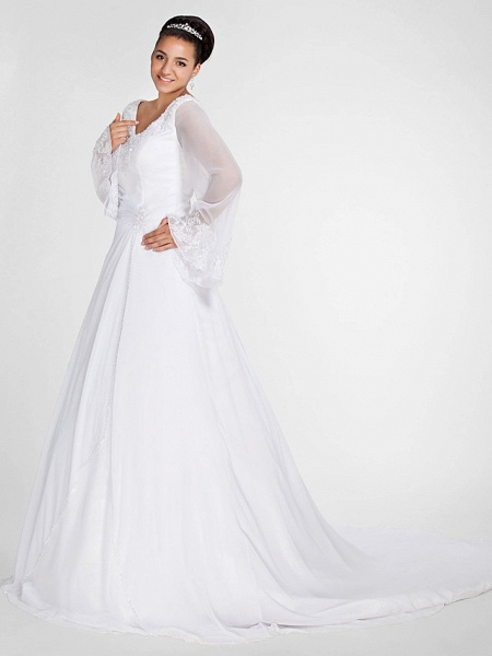 Ball Gown A-Line Wedding Dresses V Neck Court Train Chiffon Long Sleeve Formal Plus Size Illusion Sleeve_3