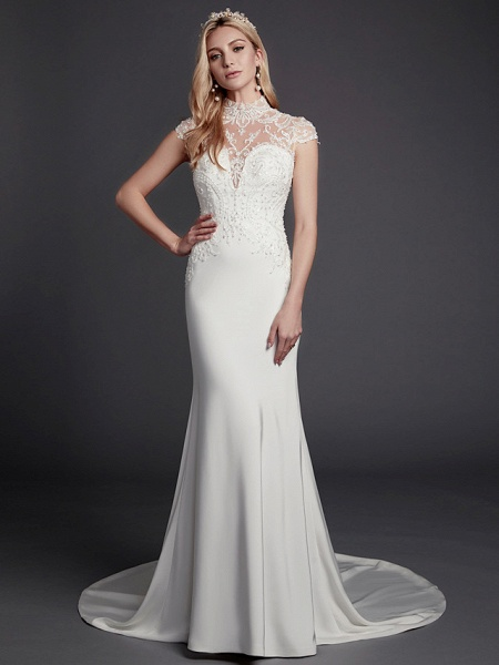 Mermaid \ Trumpet Wedding Dresses High Neck Court Train Lace Satin Sleeveless Sexy See-Through Illusion Detail Backless_4