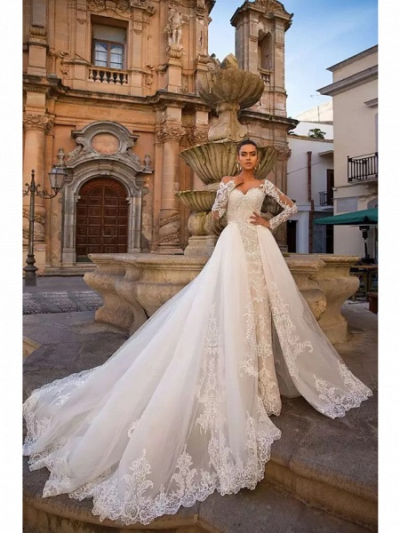 Ball Gown Mermaid \ Trumpet Sweetheart Neckline Court Train Lace Tulle Lace Over Satin Long Sleeve Sexy Plus Size Modern Detachable Wedding Dresses_2