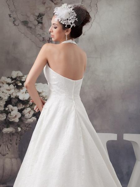A-Line Halter Neck Court Train Lace Satin Spaghetti Strap Wedding Dresses_5