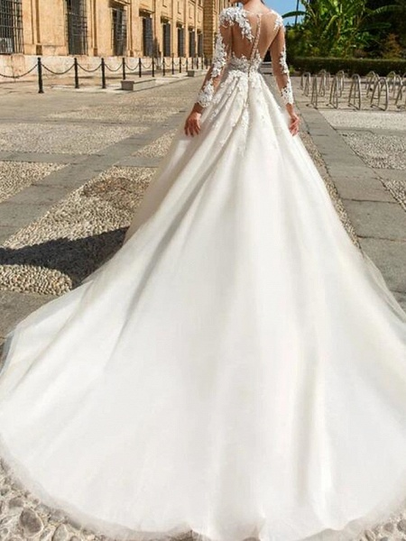 A-Line Wedding Dresses Jewel Neck Court Train Lace Tulle Long Sleeve Formal See-Through_2