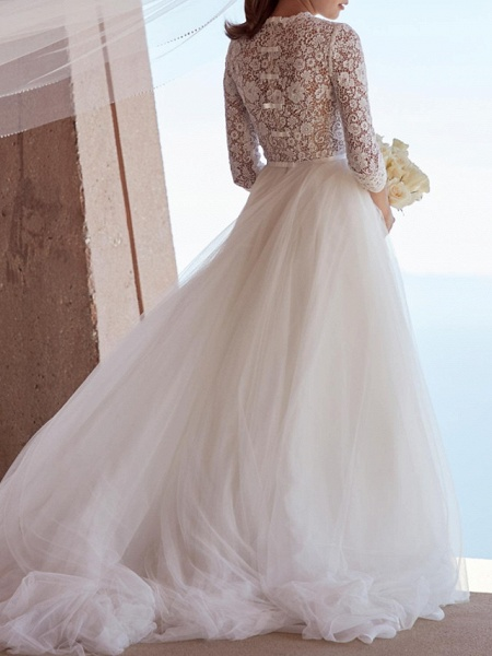 A-Line Wedding Dresses Jewel Neck Sweep \ Brush Train Tulle Polyester 3\4 Length Sleeve Country Boho Plus Size_4