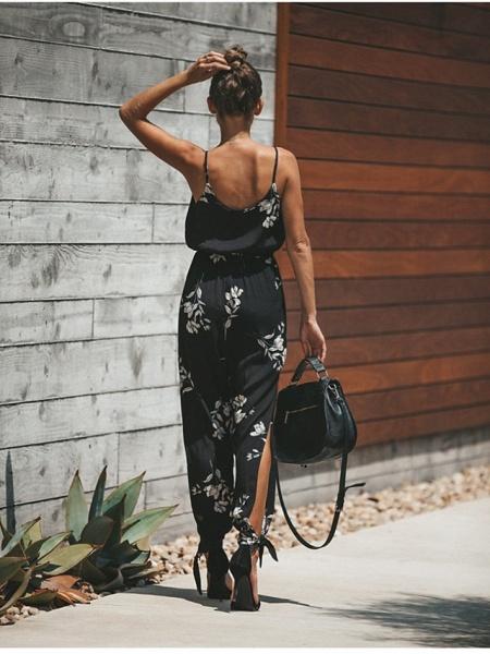 Women's Vacation Deep V Wine Black Beige Jumpsuit_7