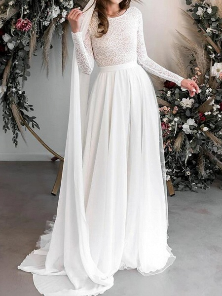 A-Line Wedding Dresses Jewel Neck Floor Length Chiffon Lace Long Sleeve Country Plus Size_1